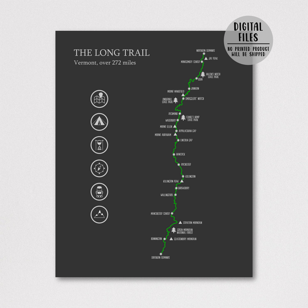 the long trail hiking print-the long trail hiking map-vermont poster