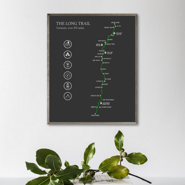 the long trail map poster-adventur gift ideas