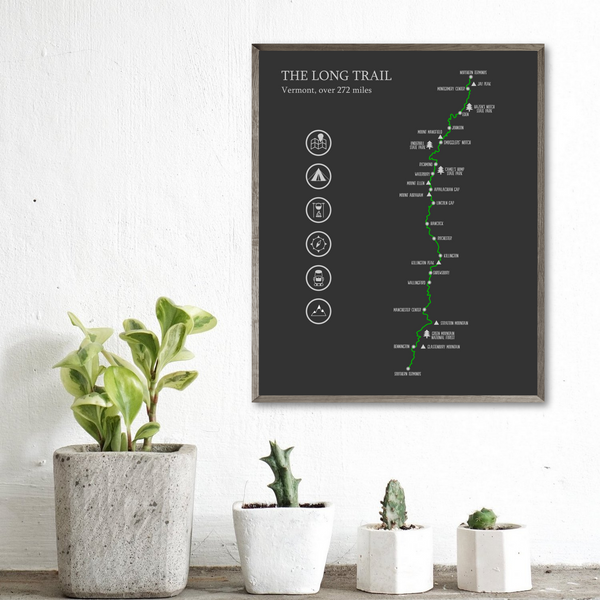 the long trail map poster-hiking map-vermont hiking print