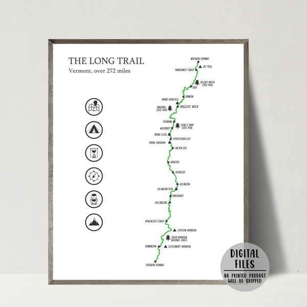 the long trail map poster-hiking gift ideas