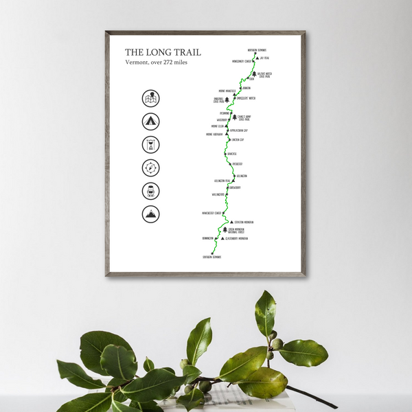 the long trail map print-gift for adventurer-trail hiking map poster