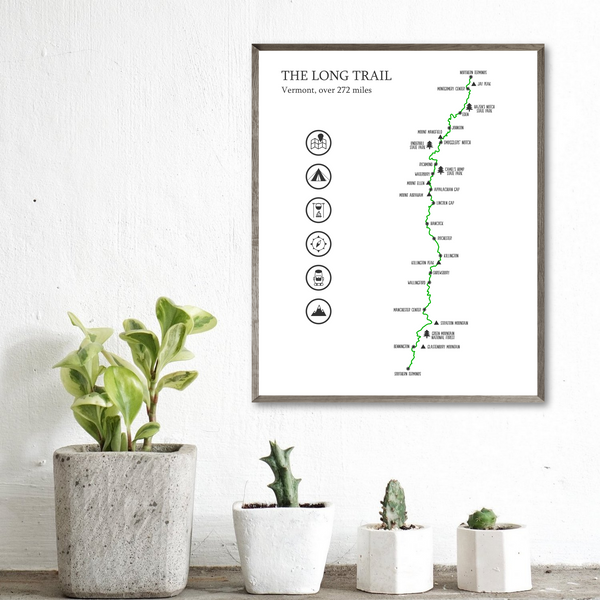 the long trail map print-adventure gift ideas