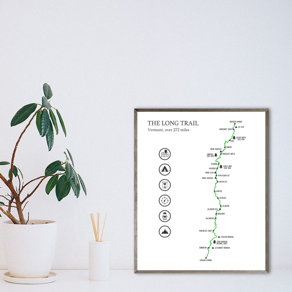 the long trail map print-hiking trail poster