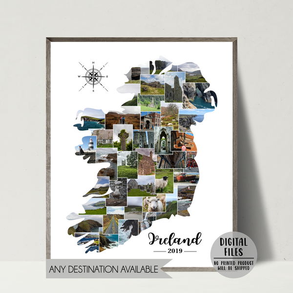 personalized photo collage-travel collage-map collage