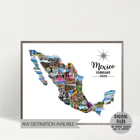 custom photo collage-personalized travel collage-map photo collage-mexico