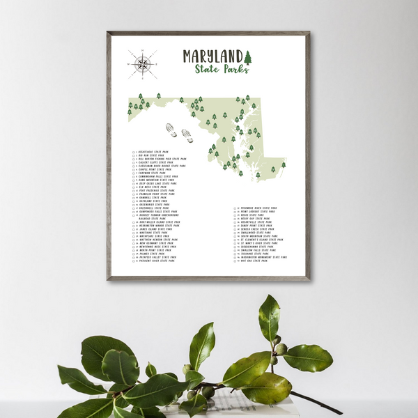 maryland state parks map print-gift for adventurer