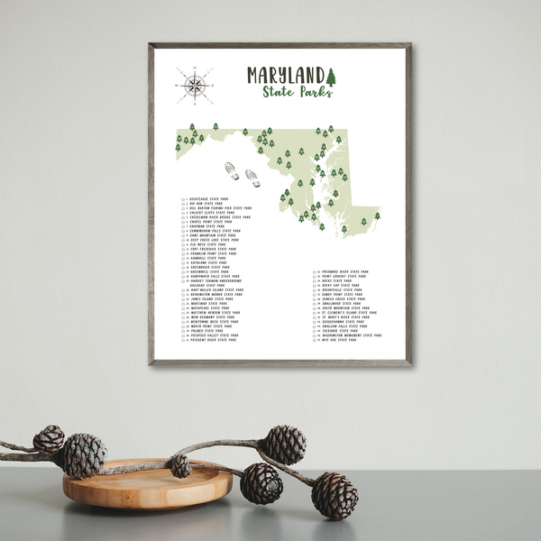 maryland state parks map print-hiking gift ideas-travel gif