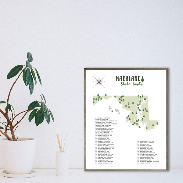 maryland state parks map poster-adventure print