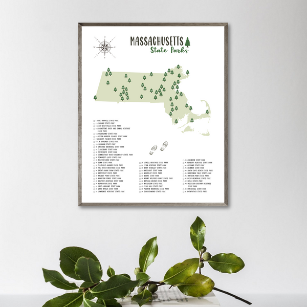massachusetts state parks map poster-adventure gift