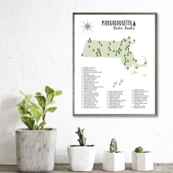 massachusetts state parks map poster-hiking gift ideas