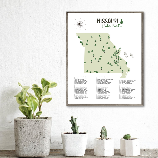 missouri state parks map poster-gift for him-adventure map