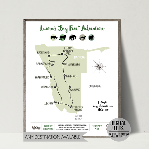 personalized travel map-safari map-africa travel map print