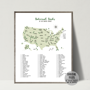 National Parks Of United States-63 national parks map poster