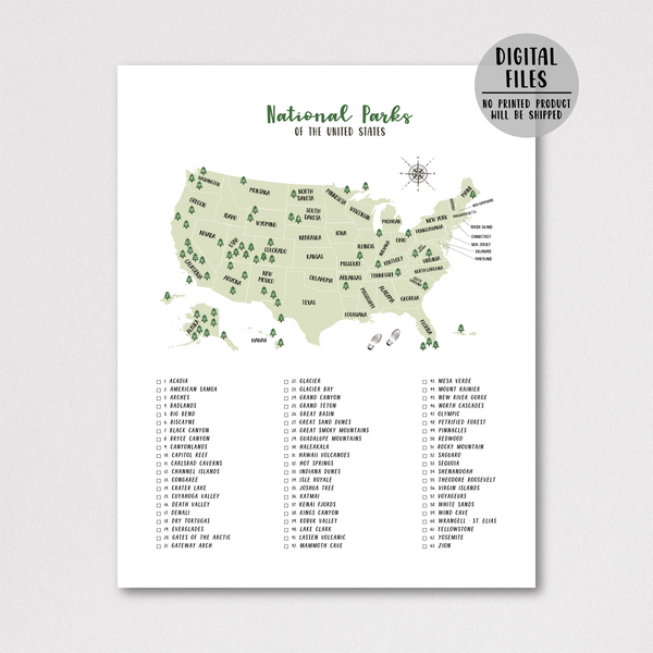 usa national parks map - national parks checklist