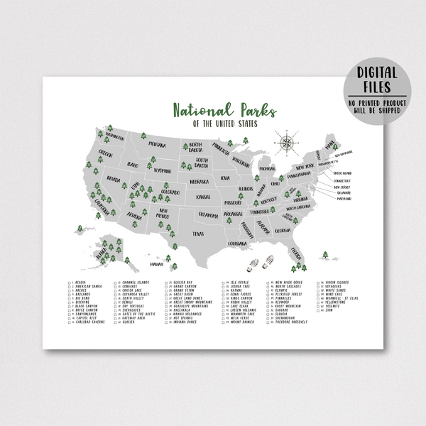 national parks map-gift for hiker-travel gift