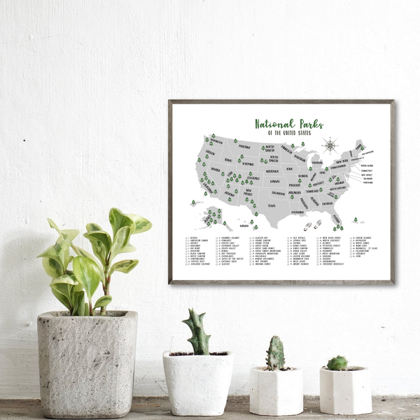 us national parks map print-adventure gift-gift for hiker