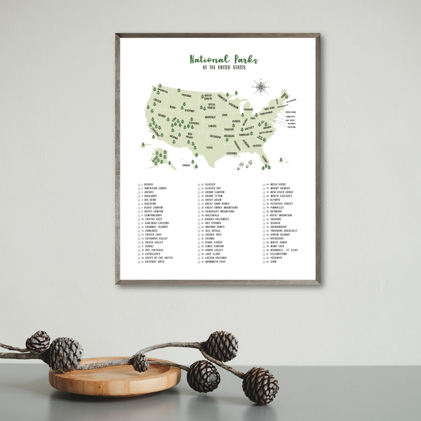 usa national parks poster-national parks map-travel gift ideas