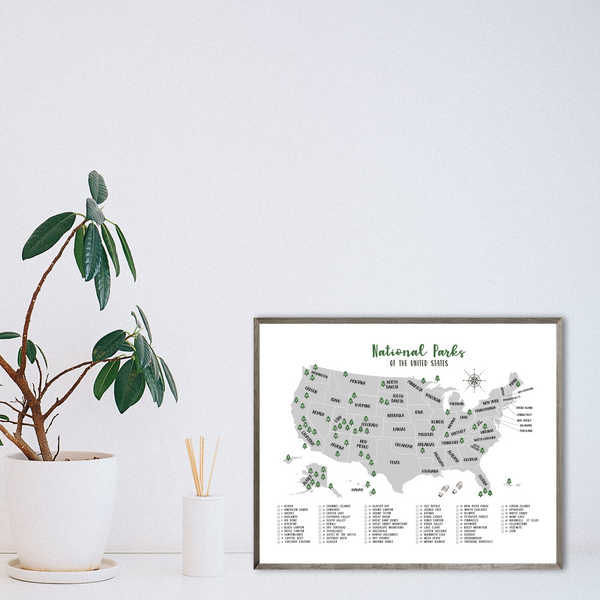 national parks map print-hiker gift-63 national parks of USA