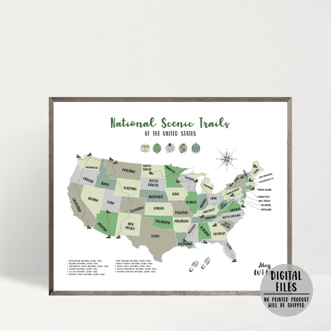 us national scenic trails map - usa hiking map print