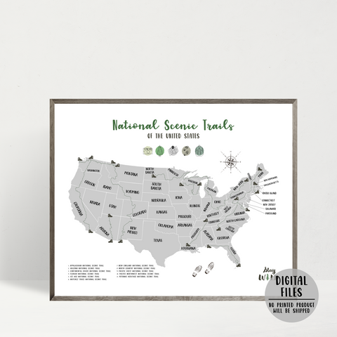 national scenic trails hiking map - adventure map