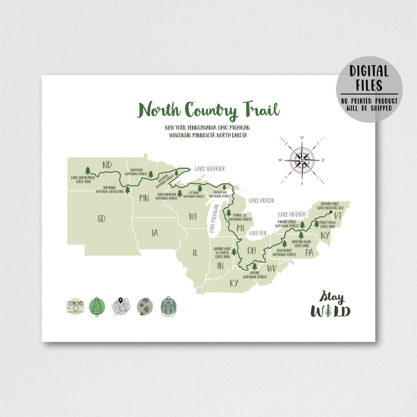 north country trail hiking map-north country trail print
