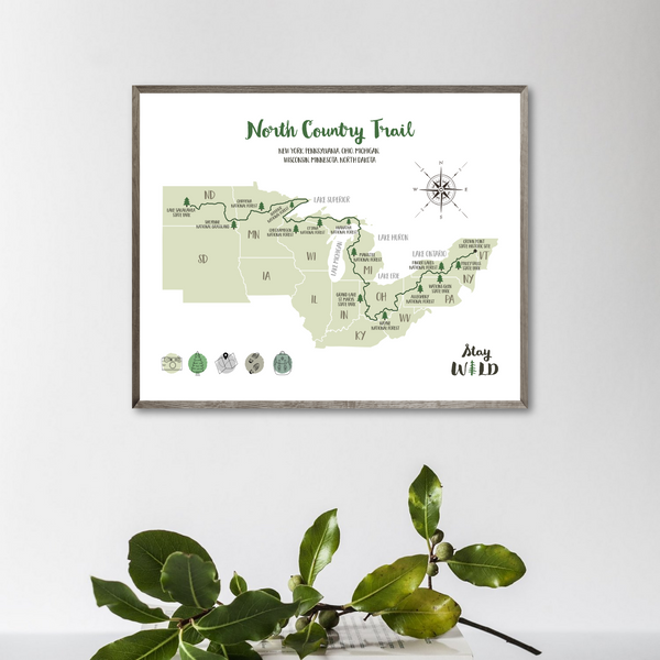 north country trail map-north country trail hiking map poster