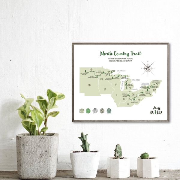 north country trail map-north country trail hiking map print