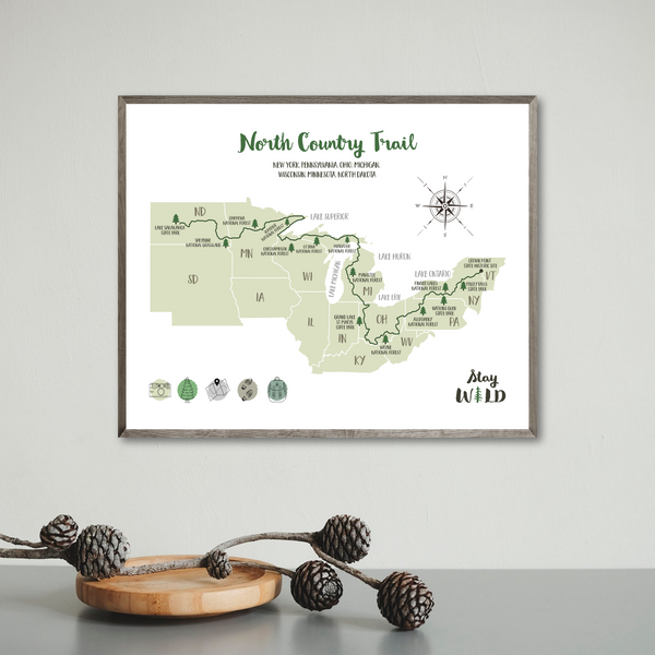 north country trail hiking map-north country trail print-adventure map