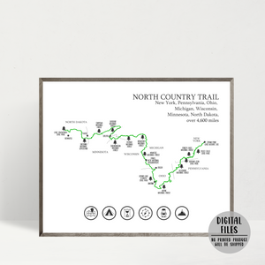 north country trail map print-hiking gift ideas