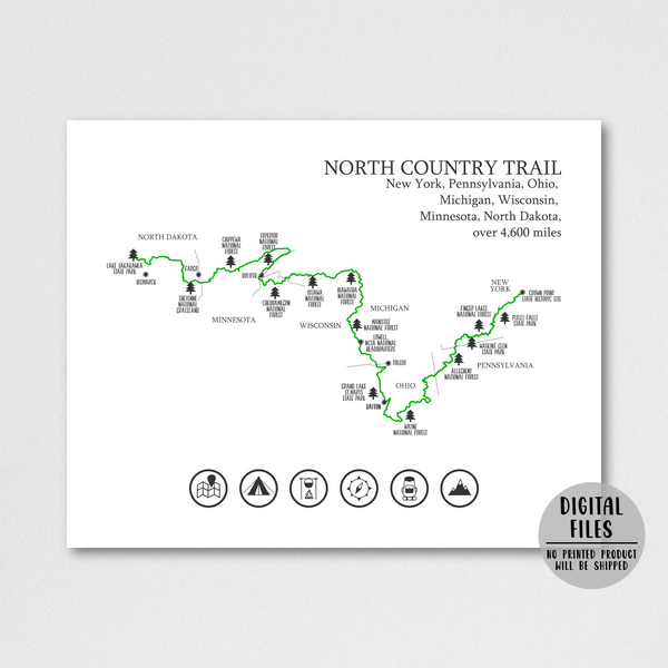 north country trail map poster-gift for hiker