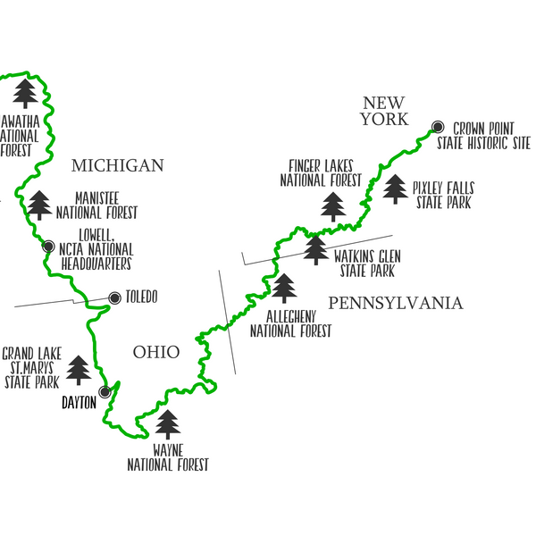 north country trail map print-gift for adventurer