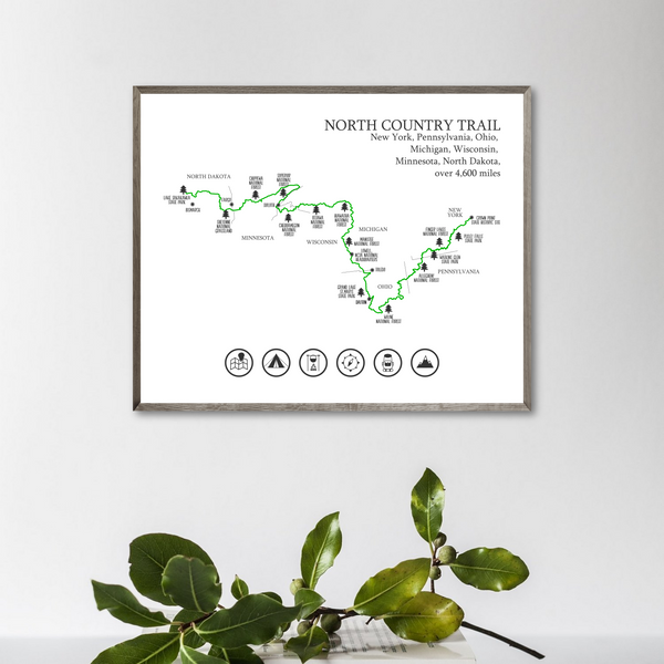 north country trail map print-hiking trail map-trail poster