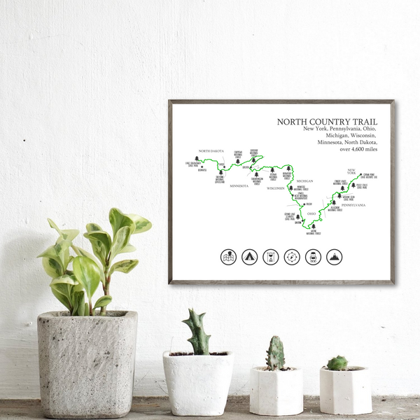 north country trail map poster-travel gift ideas-hiking map