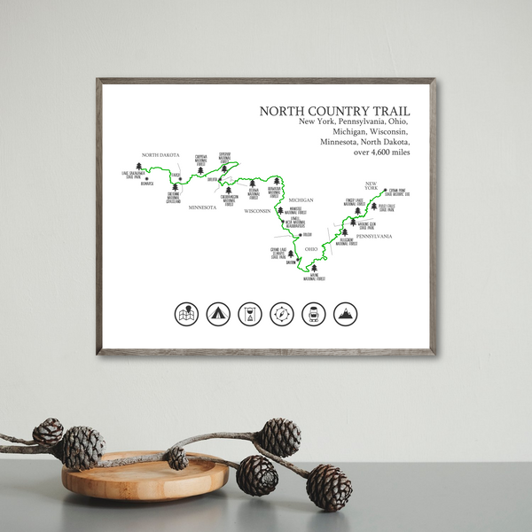 north country trail map print-hiking map-trail poster