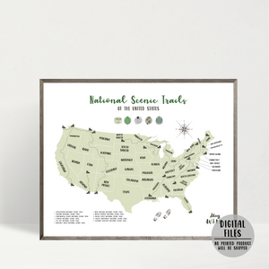 usa national scenic trails map - hiking map - gift for hiker