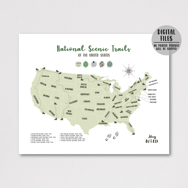 usa national scenic trails map - hiking gift