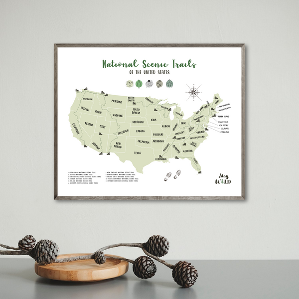 national scenic trails hiking map - hiking map poster