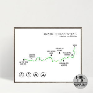 Ozark Highlands trail map print-gift for hiker