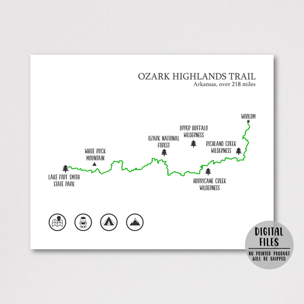 Ozark Highlands trail map poster-gift for adventurer