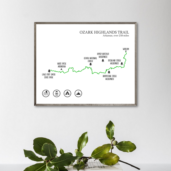 Ozark Highlands trail map print-Ozark Highlands hiking trail poster