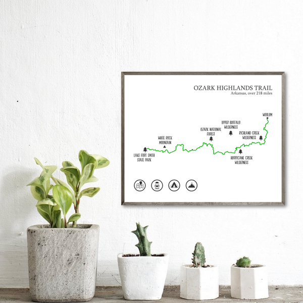 Ozark Highlands print-Ozark Highlands hiking map poster