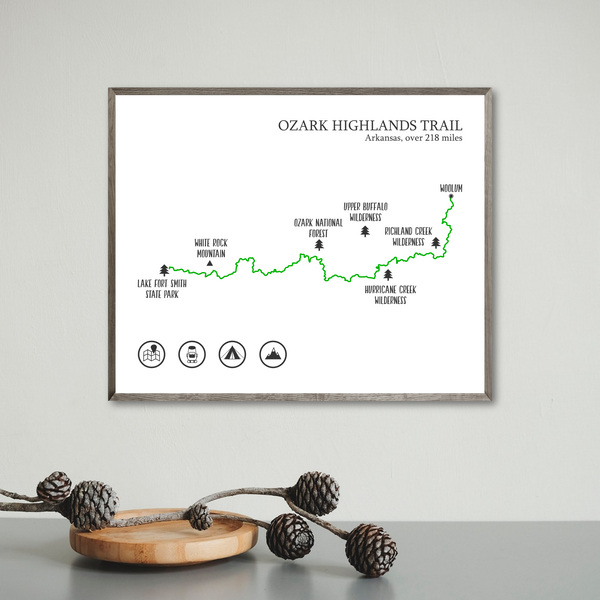 Ozark Highlands trail print-Ozark Highlands trail map poster-gift for adventurer