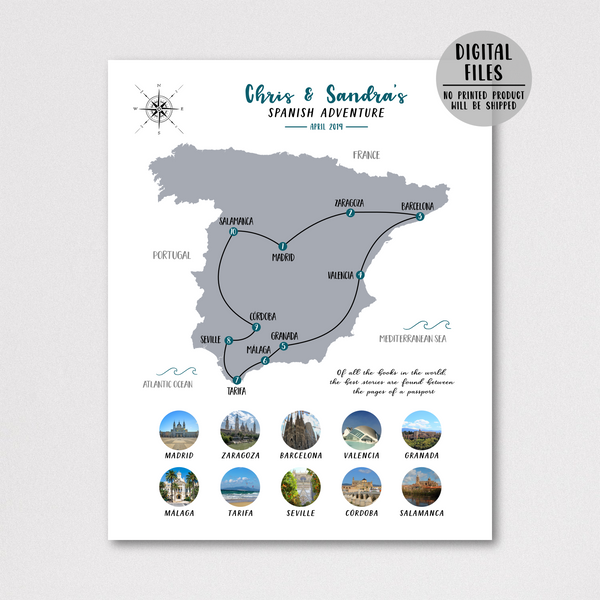 spain travel map-spain photo collage-spain map collage
