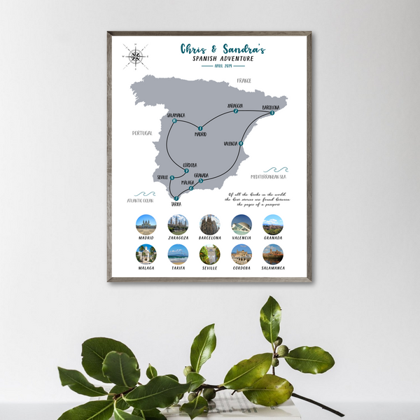 spain trip collage-personalized travel map-gift for traveler-map photo collage