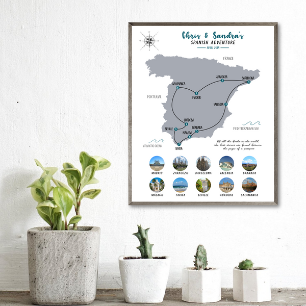travel collage-map photo collage-custom map-spain travel map