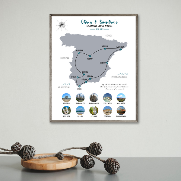 travel collage-map collage-spain photo collage-personalized gift for traveler
