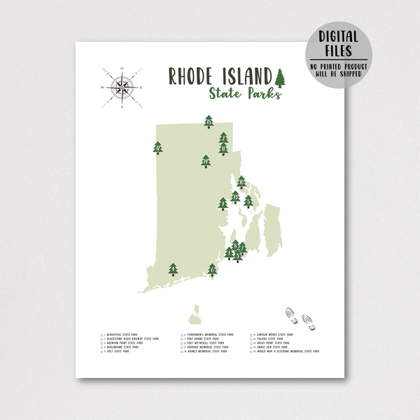 rhode island state parks map print-gift for traveler