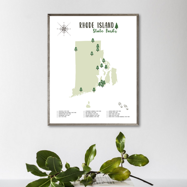 rhode island state parks map poster-gift for adventurer