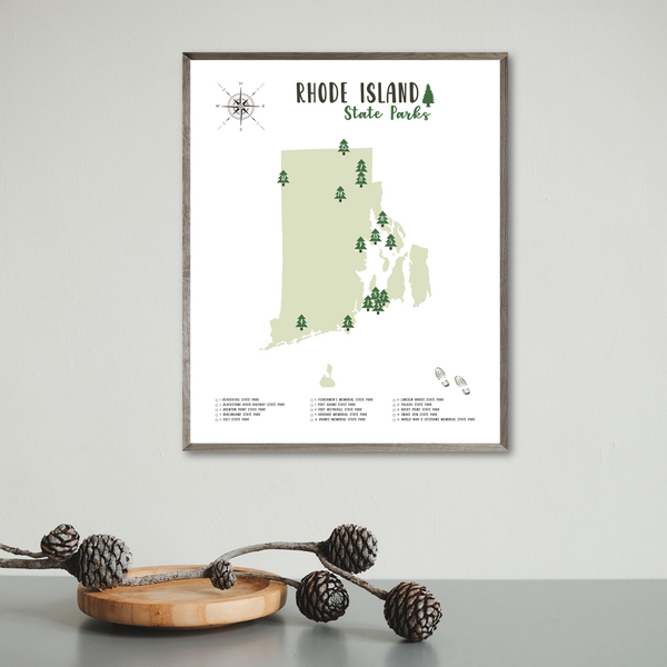 rhode island state parks map poster-travel gift ideas