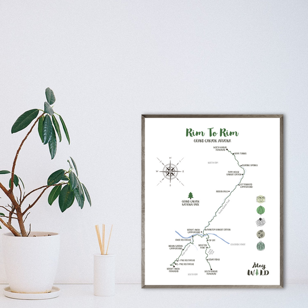 grand canyon hiking map-rim to rim-hiking gift